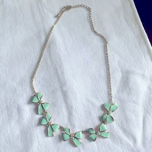 Tiffany blue flower necklace! Gold tone!
